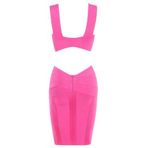 Sexy Plunging Neck Sleeveless Hollow Solid Color Bodycon Women's Bandage Dress -