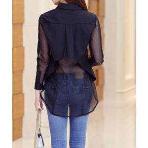 Fashionable Turn-Down Collar Organza Splicing Long Sleeve Women's Blouse -
