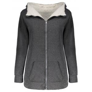 Casual Hooded Long Sleeve Flocky Zippered Pocket Design Women's Coat