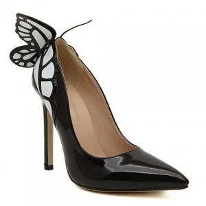 Gorgeous Butterfly and Point Toe Design Women's Pumps - BLACK 40
