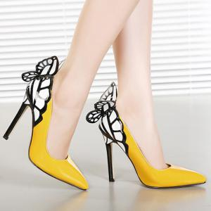 Gorgeous Butterfly and Point Toe Design Women's Pumps - YELLOW 36