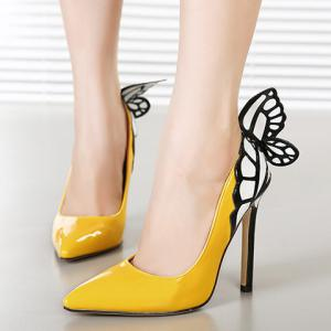 Gorgeous Butterfly and Point Toe Design Women's Pumps - YELLOW 38