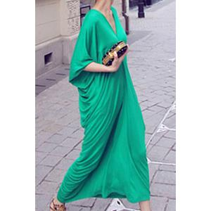 Casual Plunging Neck Batwing Sleeve Ruffled Maxi Dress - GREEN ONE SIZE