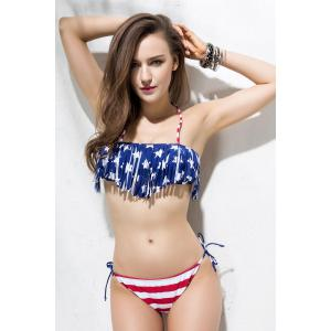 American Flag Patriotic String Swimwear - BLUE L