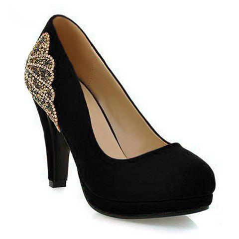 Fancy Stylish Chunky Heel and Rhinestones Design Women's Pumps