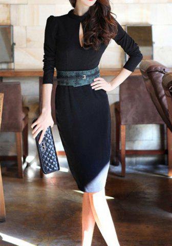 Outfits Sexy Turtle Neck Long Sleeve Backless Bodycon Women's Dress BLACK S