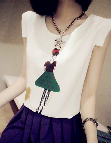 Store Refreshing Style Scoop Neck Sleeveless Chiffon Printed Women's Blouse