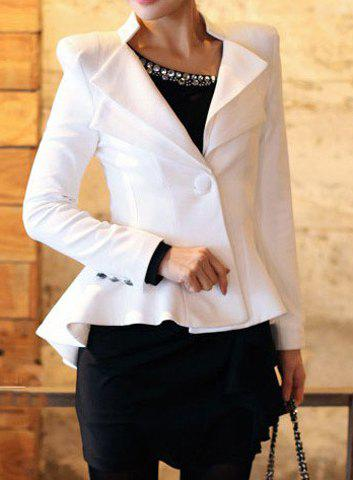 Outfit Flouncing Design Stand-Up Collar Long Sleeve One-Button Women's Blazer