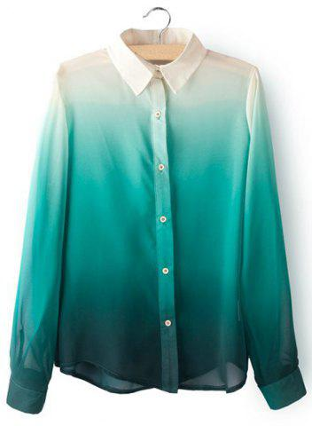Shops Stylish Turn-Down Collar Ombre Design Chiffon Long Sleeve Women's Blouse