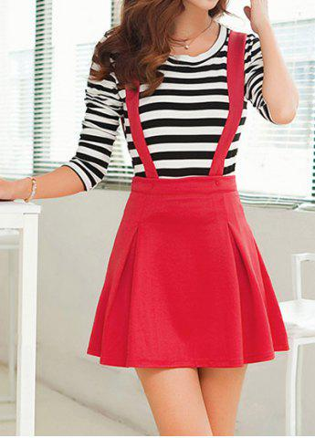 Latest Stylish Scoop Neck Long Sleeve Striped T-Shirt + Solid Color Suspender Skirt Women's Twinset