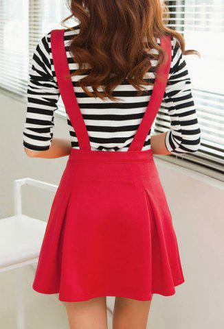 New Stylish Scoop Neck Long Sleeve Striped T-Shirt + Solid Color Suspender Skirt Women's Twinset - S RED Mobile