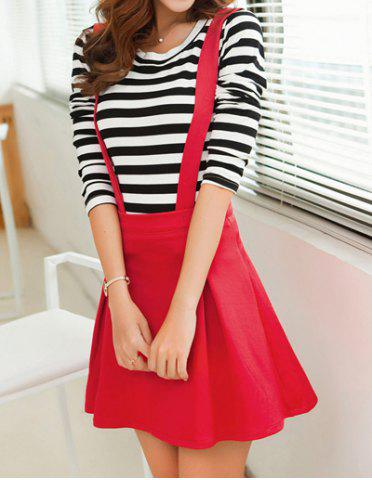 Affordable Stylish Scoop Neck Long Sleeve Striped T-Shirt + Solid Color Suspender Skirt Women's Twinset - S RED Mobile