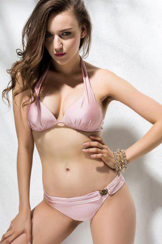 Latest Sexy Halterneck Metal Embellished Ruffle Pink Women's Swimsuit PINK M
