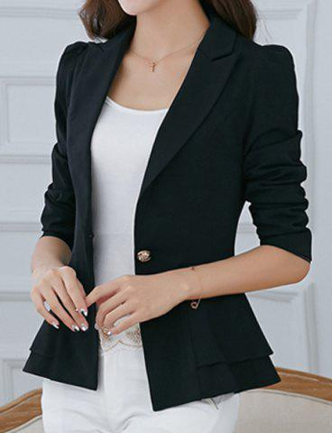 Cheap Stylish Lapel Long Sleeve Solid Color One-Button Women's Blazer