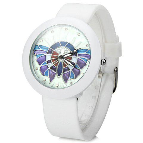 Latest Luxurious Quartz Watch Colorful Butterfly Round Dial Rubber Watchband for Women