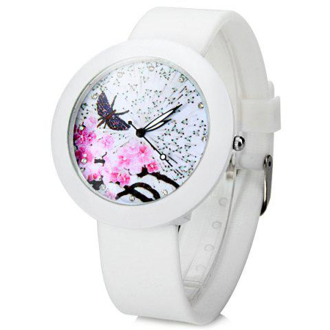 Outfits Plum Blossoms Quartz Watch Round Dial Rubber Watchband for Women