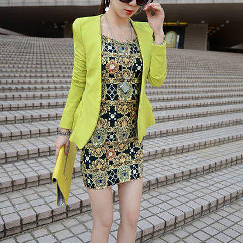 Best Casual Plunging Neck Long Sleeves Solid Color Flounce Blazer For Women