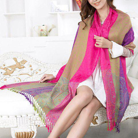 Chic Chic Style Floral Print Color Block Tassels Pashmina For Women