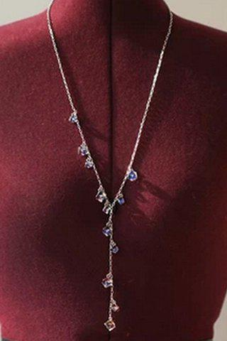 New Chic Women's Rhinestone Pendant Sweater Chain Necklace COLORMIX
