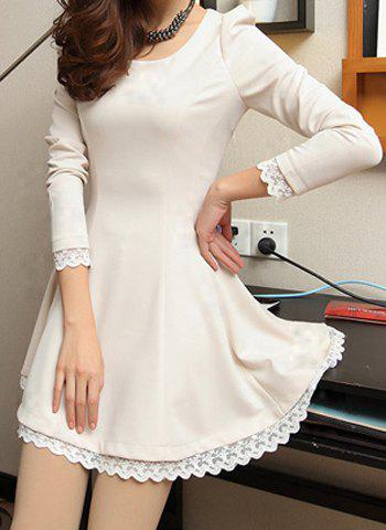 Unique Stylish Scoop Collar Lacework Splicing Waisted Corset Long Sleeve Women's Dress