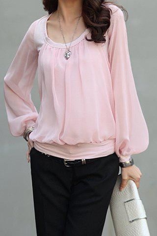 Store Stylish Scoop Neck Voile Splicing Translucent Long Sleeve Women's Chiffon Blouse