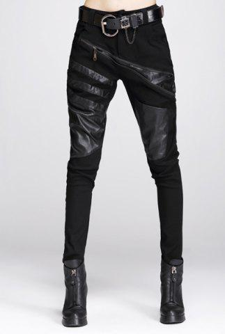 Best Faux Leather Panel Zippered Motorcycle Pants