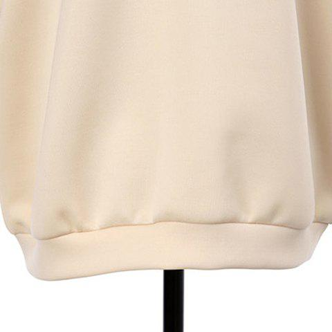 New Stylish Scoop Neck Hollow Out Beaded Sweatshirt For Women - ONE SIZE APRICOT Mobile
