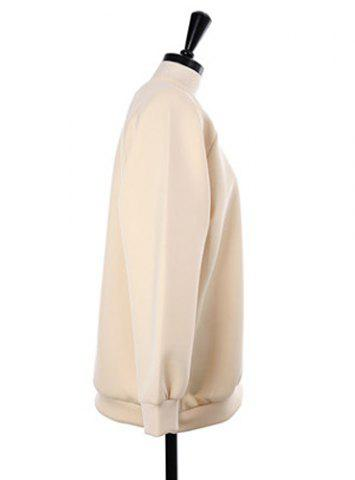 Unique Stylish Scoop Neck Hollow Out Beaded Sweatshirt For Women - ONE SIZE APRICOT Mobile