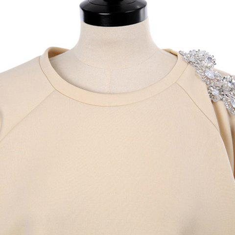 Shops Stylish Scoop Neck Hollow Out Beaded Sweatshirt For Women - ONE SIZE APRICOT Mobile