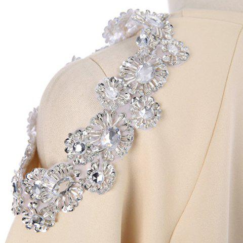 Outfit Stylish Scoop Neck Hollow Out Beaded Sweatshirt For Women - ONE SIZE APRICOT Mobile