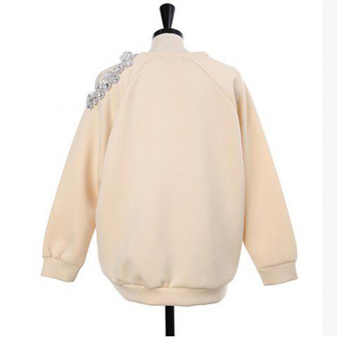 Best Stylish Scoop Neck Hollow Out Beaded Sweatshirt For Women - ONE SIZE APRICOT Mobile