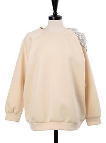 Buy Stylish Scoop Neck Hollow Out Beaded Sweatshirt For Women - ONE SIZE APRICOT Mobile