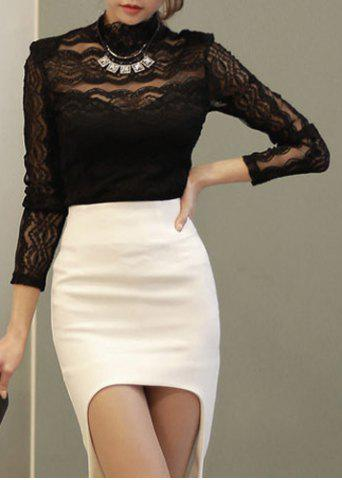 Affordable Fashionable Turtle Neck See-Through Lace Long Sleeve Women's Blouse