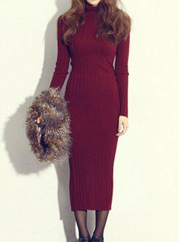 Online Simple Turtle Neck Long Sleeve Furcal Bodycon Knitted Women's Dress