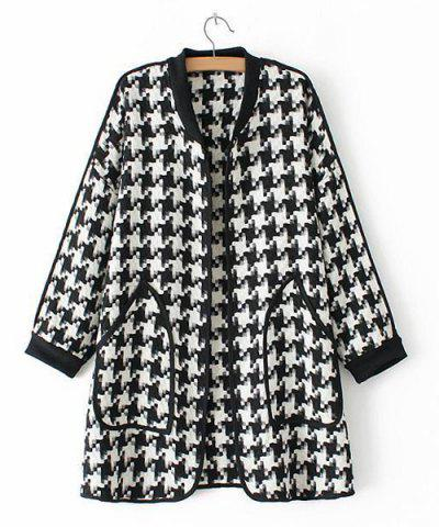 Store Stylish Stand Collar Long Sleeve Houndstooth Pattern Double Pockets Women's Coat