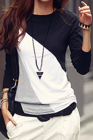 Casual Round Collar Long Sleeve Spliced Color Block Women's T-shirt