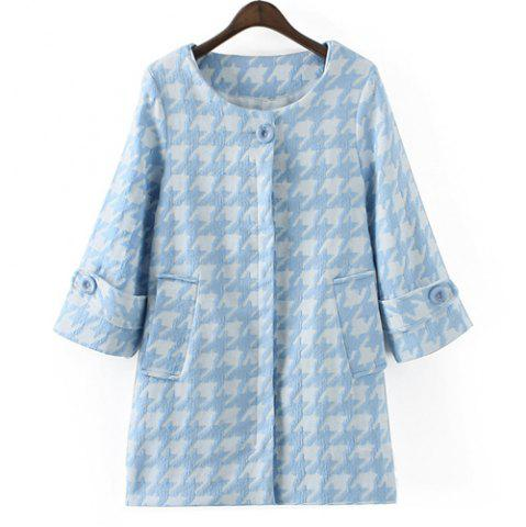 Trendy Elegant Style Scoop Collar 3/4 Sleeve Houndstooth Pattern Women's Coat