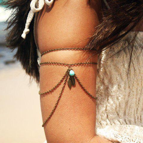 Shops Fashion Women's Solid Color Leaf Pendant Armlet