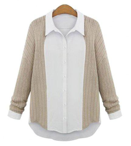 Fashion Casual Shirt Collar Long Sleeve Spliced Single-Breasted Women's Shirt APRICOT M