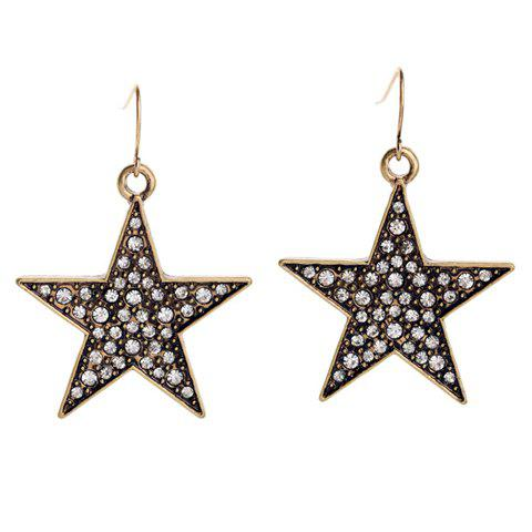 Trendy Pair of Chic Rhinestone Embellished Star Shape Pendant Women's Earrings
