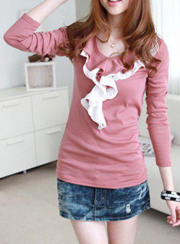 Affordable Sweet Style Scoop Collar Ruffles Splicing Long Sleeve Women's T-Shirt