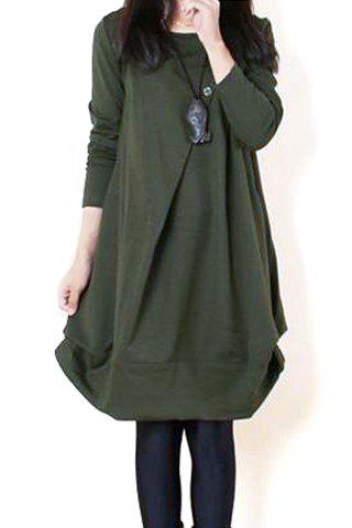 Best Casual Scoop Neck Long Sleeves Solid Color Pleated Dress For Women