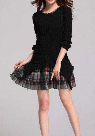 New Fashionable Jewel Neck Checked Print Splicing Slimming Long Sleeve Women's Sweater Dress