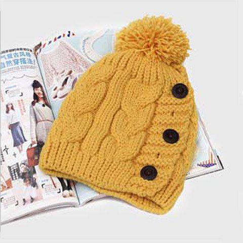 Shops Fuzzy Ball Buttons Knitted Hemp Toboggan Hat - ONE SIZE COLOR ASSORTED Mobile