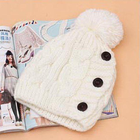 Best Fuzzy Ball Buttons Knitted Hemp Toboggan Hat - ONE SIZE COLOR ASSORTED Mobile