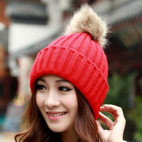 Buy Fuzzy Ball Knitted Winter Toboggan Hat - ONE SIZE COLOR ASSORTED Mobile
