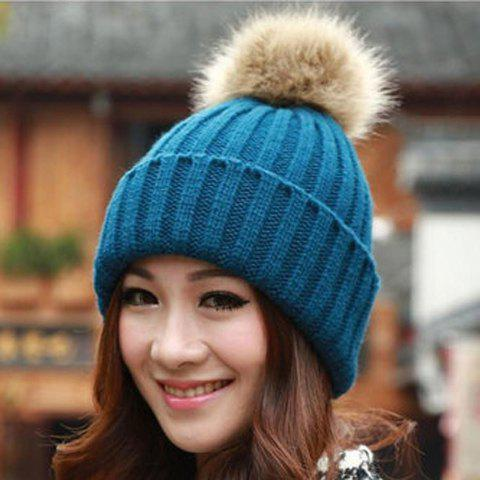 Outfit Fuzzy Ball Knitted Winter Toboggan Hat - ONE SIZE COLOR ASSORTED Mobile