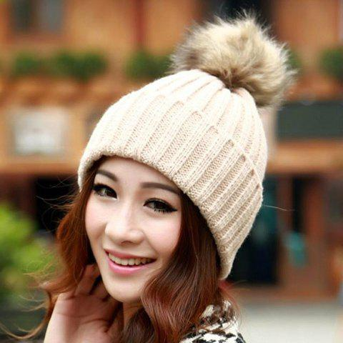 Cheap Fuzzy Ball Knitted Winter Toboggan Hat - ONE SIZE COLOR ASSORTED Mobile
