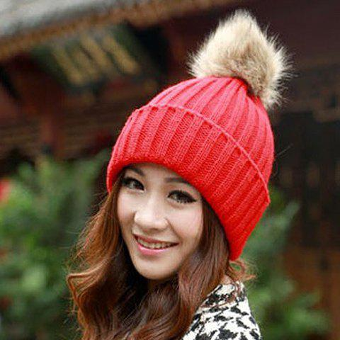 Unique Fuzzy Ball Knitted Winter Toboggan Hat - ONE SIZE COLOR ASSORTED Mobile
