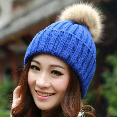 Fashion Fuzzy Ball Knitted Winter Toboggan Hat - ONE SIZE COLOR ASSORTED Mobile
